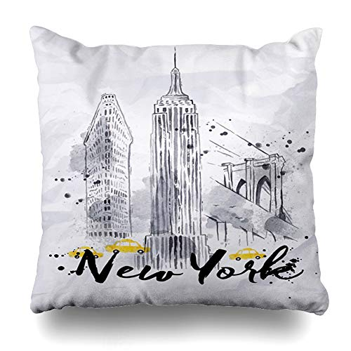 Ahawoso Throw Pillow Cover Subway Watercolor New York Skyscrapers Empire State Brooklyn Tourism Bridge in Vintage Drawing Drops Zippered Pillowcase Square Size 20 x 20 Inches Home Decor Cushion Case ()