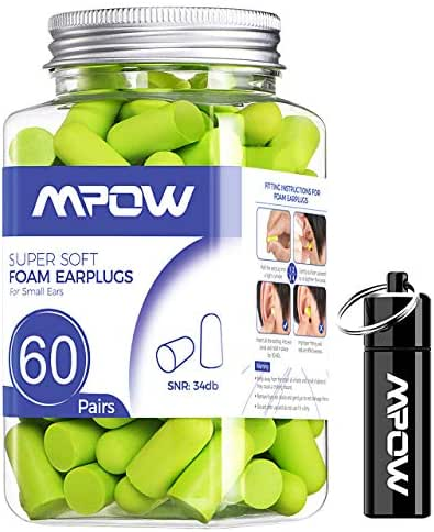 Mpow Soft Earplugs 60 Pairs for Small-Sized Ears, SNR 34dB Foam Ear Plugs, Noise Reduction Hearing Protection for Sleeping, Working, Shooting, Constructing, Snoring, with an Aluminum Carry Case-Green
