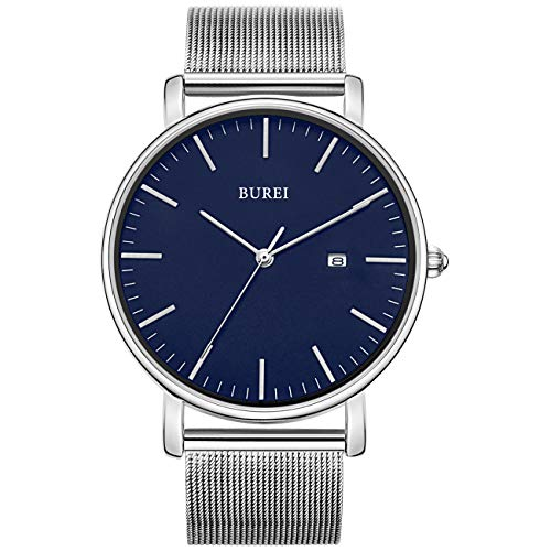 BUREI Men's Fashion Minimalist Wrist Watch Analog Blue Date with Silver Stainless Steel Mesh Band (Blue Silver)