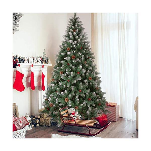 YOUKE Albero di Natale Artificiale di Pino Dolce Glassato Decorato con Pigne e Bacche Rosse,Facile da Installare, Materiale in PVC (1400Tips, 2.25M) 3 spesavip