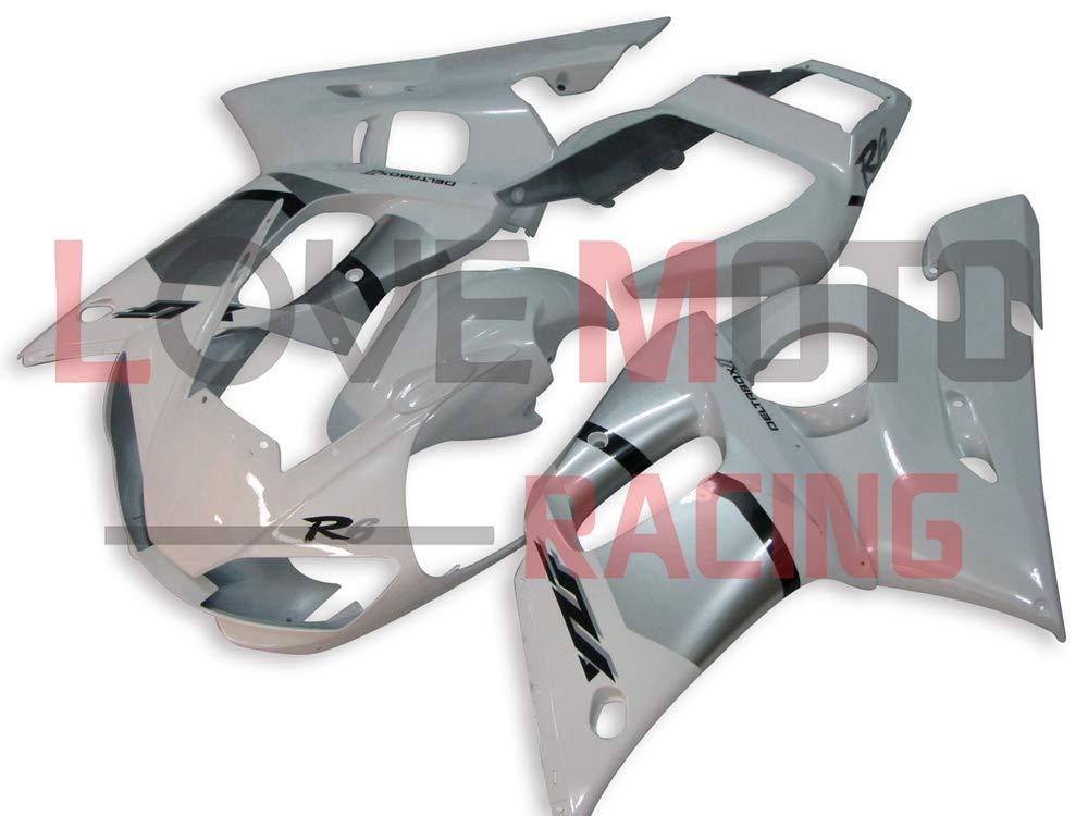 LoveMoto ブルー/イエローフェアリング ヤマハ yamaha YZF-600 R6 1998 1999 2000 2001 2002 YZF 600 ABS射出成型プラスチックオートバイフェアリングセットのキット ホワイト シルバー   B07KP4YTRS