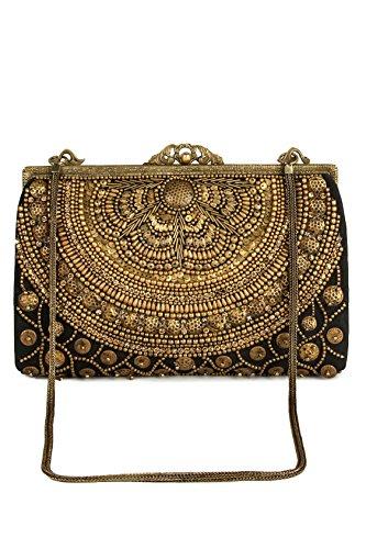 MyBatua Ava Black & Gold borsa in ottone Telaio per feste di matrimonio e Outs sera ACP-445