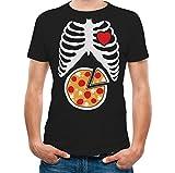 Skeleton Pizza XRay Rib Cage - Pizza Lover Halloween Costume T-Shirt Large Black