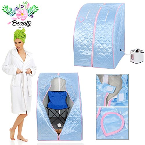 2l Portable Steam Sauna Tent SPA Detox Weight Loss w/ Chair (Blue)