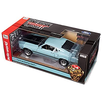 American Muscle – 1969 Ford Mustang in Aztec Aqua - 1/18 Scale Die Cast Collectible American Muscle Car for Kids and Adults: Automotive