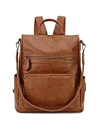 RAVUO Backpack Purse for Women, PU Leather Anti-Theft Backpack Fashion Convertible Shoulder Bag for Ladies Three Ways to Carry