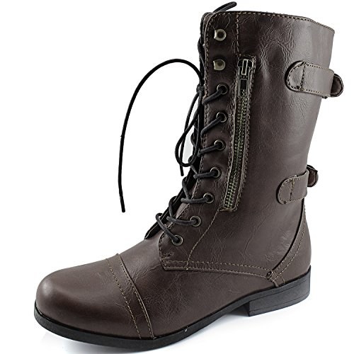 DailyShoes Womens Evan-10 Ankle Zipper Strap Military Combat Boots, 6 B(M) US