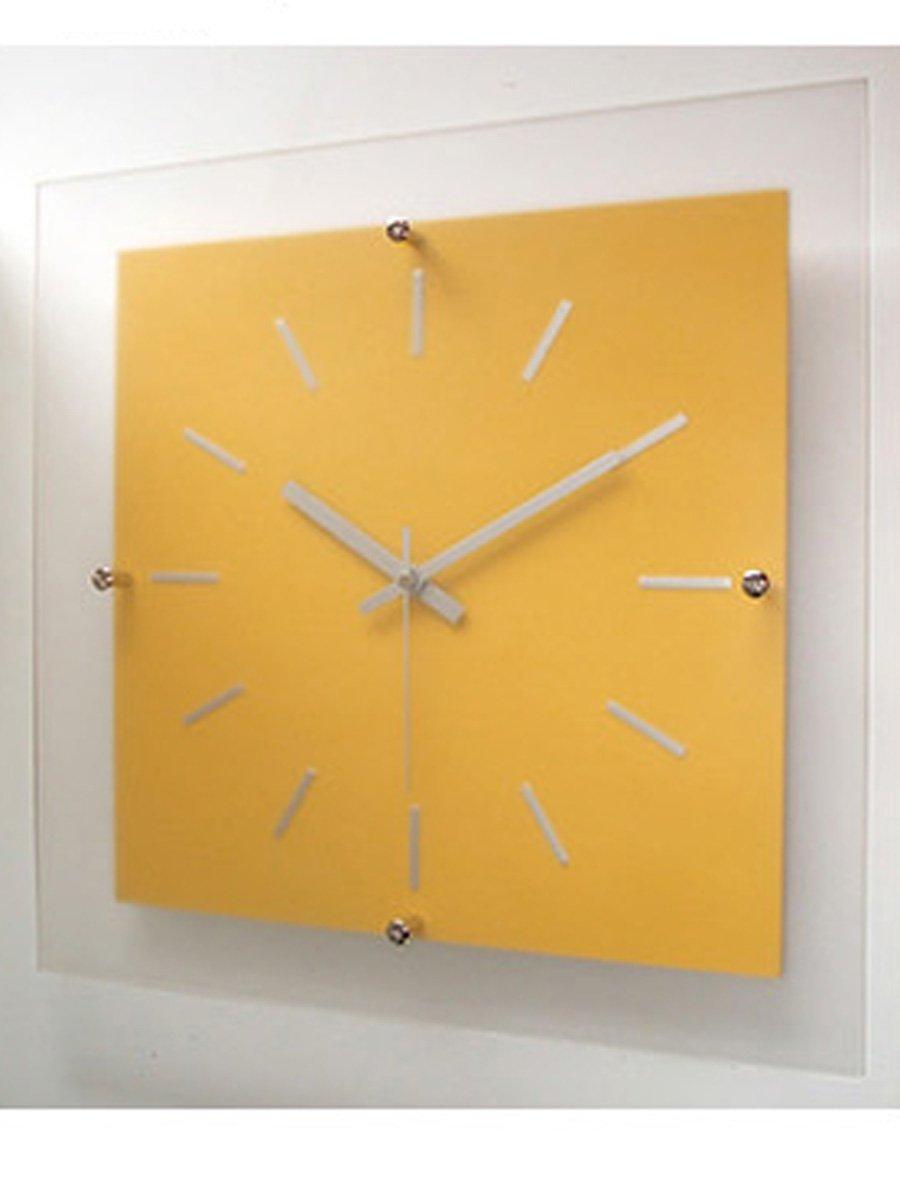 フォーカススリー 置き時計掛け時計 イエロー 33×33×4.6cm 1170519 B015DV7WYM イエロー イエロー