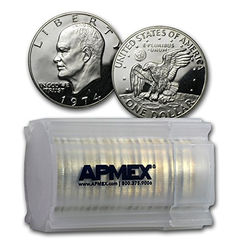 (1974 S 40% Silver Eisenhower Dollar 20-Coin Roll Gem Proof Silver)