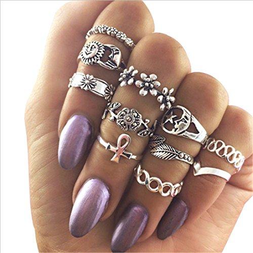 11PCS Retro Hollow Ring Jewelry with Sun Moon Stars Flowers Shape