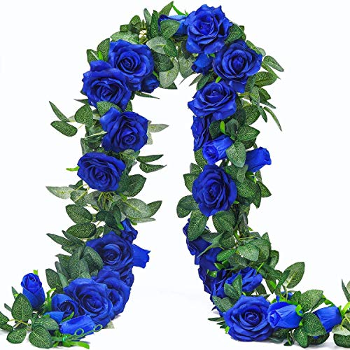 FOCULED Artificial Vines with 17 Rose Flower, Ivy Rose Garlands,Fake Silk Flower, Rose Garlands,Hanging Rose Ivy Plants for Wedding Home Office Arch Arrangement Decoration (Blue-Rose) -