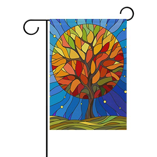 ALAZA Art Stained Glass Garden Flag, Unique Tree Of Life 12