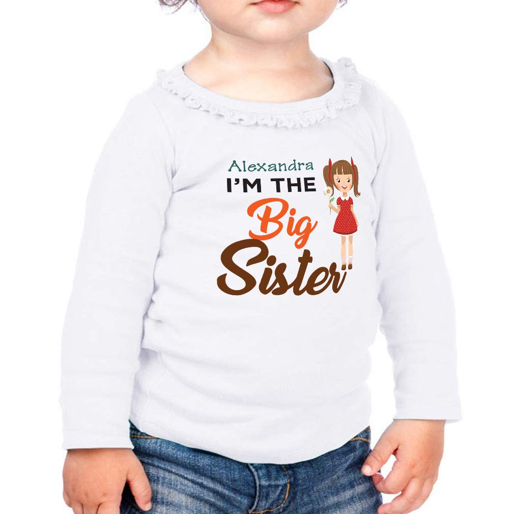 Personalized The Big Sister Cotton Girl Toddler Long Sleeve Ruffle Shirt Top