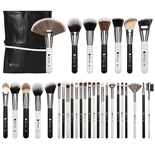 DUcare Makeup Brushes 31Pcs Professional Panda Makeup Brushes Premium Synthetic Goat Pony Hair Kabuki Foundation Blending Brush Face Powder Blush Concealers Eye Shadows With Leather Case Organizer (Eyeshadow For Brown Eyes And Brown Hair)