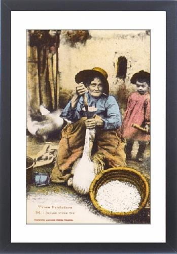 Framed Artwork of Pyrenean Woman force-feeding a goose