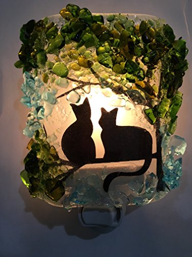 Two Twin Cats in a Tree Recycled Glass Night Light by Reborn Glass Nightlight, Nitelite, Nite Lite