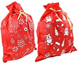 Iconikal Non-Woven Jumbo 35 x 44-inch Santa Claus Gift Present Bag Sack Set, Red, 2-Pack