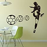 Fangeplus(TM) Black Football Soccer Player Boy DIY Removable Art Mural Vinyl Waterproof Wall Stickers Kids Room Decor Nursery Decal Sticker Wallpaper 34.6''x22.4''