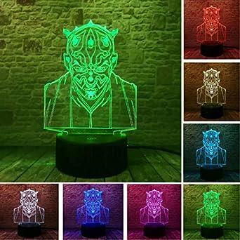 Luz Nocturna Optical Illusion Lamp Nuevo 3D Star Wars Darth Maul Jedi Knight Visual Led 7 Gradient Color Nightlight Illusion Mood Fans Niño Navidad Regalo ...