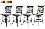 Patio Bar Stools Set of 4 Cast Aluminum swivels With Sunbrella Seat Cushions