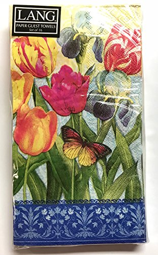 Tulips & Butterfly Botanical Gardens 3-Ply Paper Guest Towels (Great for Decorating the Guest Bathroom) Pack of 16