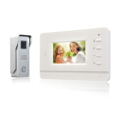 Nudito Kit Videoportero Plano y Fino, Interfono Intercomunicador (1 Monitor Blanco TFT LCD a color de 4,3