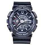 Sanda Teens Youth Sports Watch Waterproof Shock Resist Dual Time Analog Digital Light Wristwatch - Black