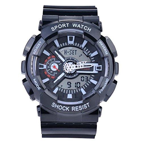 Sanda Teens Youth Sports Watch Waterproof Shock Resist Dual Time Analog Digital Light Wristwatch - Black by SANDA