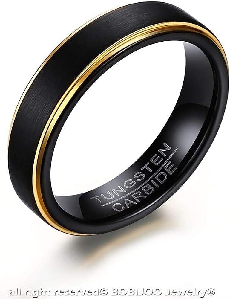 Anillo Alianza Buen Hombre Mujer de Tungsteno Negro Mate Oro Dorado de 5mm Garant/ía de 10 a/ños BOBIJOO JEWELRY