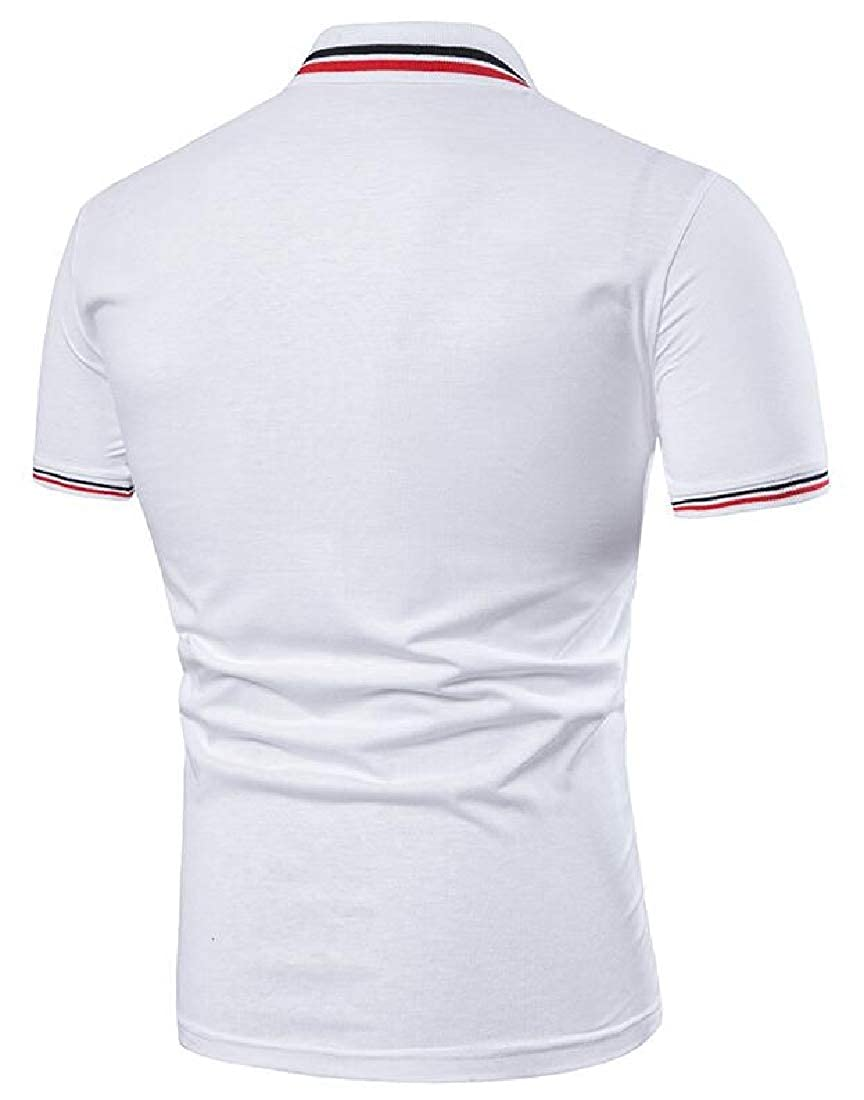 Men Classic Solid Color Polo Shirts Cotton Short Sleeve T-Shirt