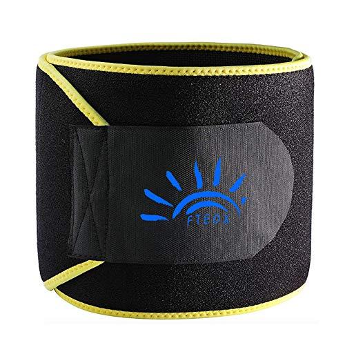 FTEOX Waist Trimmer,Waist Trainer Waist Trimmer Belt Weight Loss Wrap Fat Stomach Burner Ab Belt Belly Sweat Belt Body Shaper Back Lumbar Support with Sauna Suit for Women&Men (Yellow, Medium)