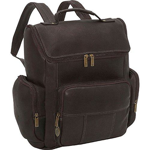 David King Multi Pocket Laptop Leather Backpack in Cafe