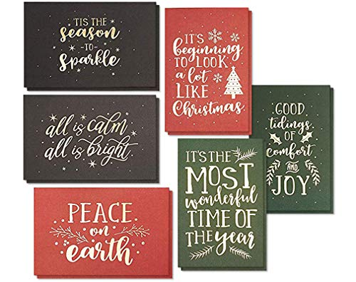 24-Pack Merry Christmas Holiday Greeting Card - Happy Holidays Xmas Cards in 6 Gold Foil Print Designs and Soft Touch Coating, Bulk Assorted Festive Winter Holiday Cards with Envelopes, 4 x 6 Inches (Foil Christmas Cards Print)