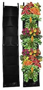 8 Pocket Vertical Garden Planter – Living Wall Planter – Vertical Planters – For Outdoor & Indoor Herb, Vegetable, & Flower Gardens (Black)