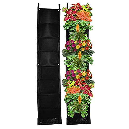 8 Pocket Vertical Garden Planter   Living Wall Planter   Vertical Planters    For Outdoor U0026 Indoor Herb, Vegetable, U0026 Flower Gardens (Black)