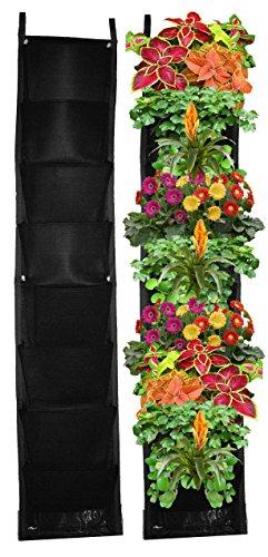 8 Pocket Vertical Garden Planter – Living Wall Planter – Vertical Planters – For Outdoor & Indoor Herb, Vegetable, & Flower Gardens (Black) - Succulent Living Wall Planter