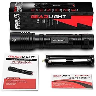 GearLight High-Powered LED Flashlight S2000 - Brightest High Lumen Light with 5 Modes, Zoomable, and Water Resistant I Powerful Camping and Emergency Flashlights