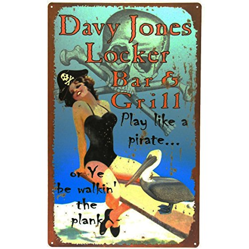 Davy Jones Locker Bar&Grill Sign w/Pirate Pinup Girl]()