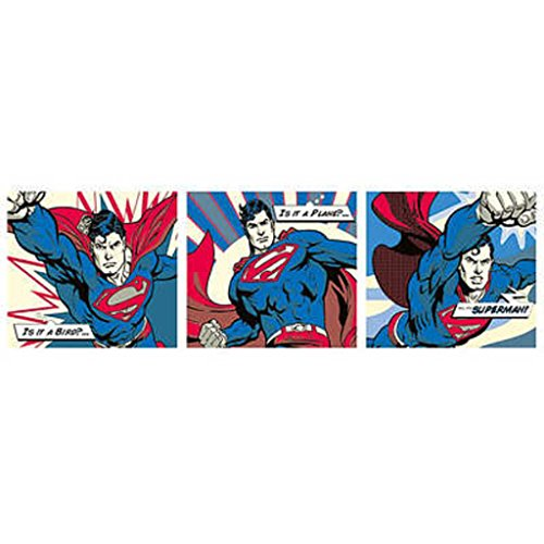 Pyramid America Superman Comic Pop Art Triptych Door Giant Poster 62x21 inch ()