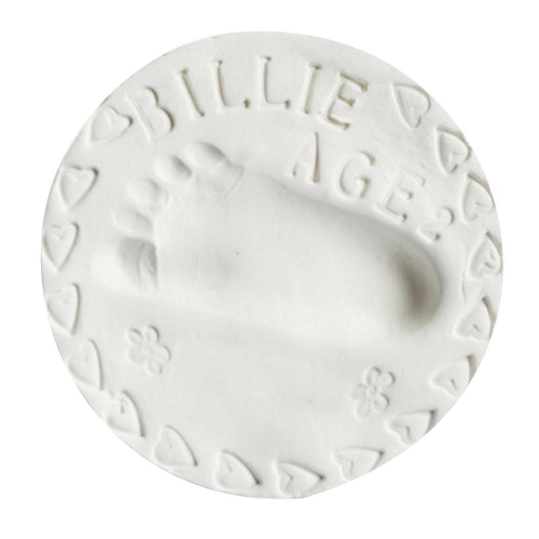Imprint Casting Fingerprint Vibola Baby Handprint Footprint Shower Gift Ornament Kit, DIY Baby Desk Creative Keepsake, Air Drying Soft Clay 30g (white)