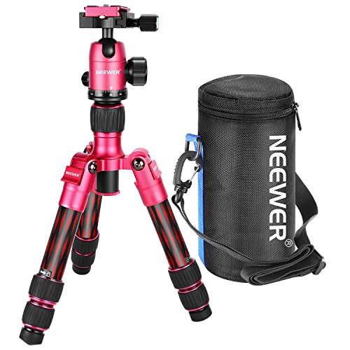 Neewer Carbon Fiber 20 inches/50 centimeters Portable Travel Desktop Mini Tripod with 360 Degree Ball Head,Quick Shoe Plate,Bag for DSLR Camera,Video Camcorder up to 11 pounds/5 kilograms T350C(Red) by Neewer