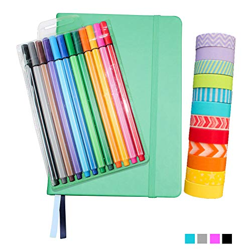 Bullet Dotted Journal Kit with Supplies - Aqua A5 Hard Cover Dotted No-Bleed Page Notebook, 12 Fineliner Pens, 12 Washi Tapes - All-in-One Starter Set for Bullet Journals by Wonderful Washi