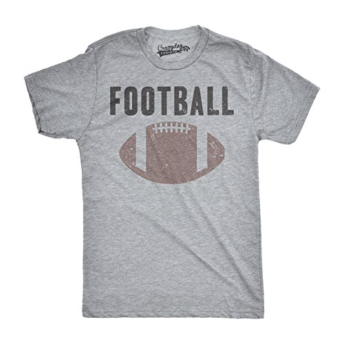Mens Vintage Football Text Sports Distressed Football Laces Sporty T Shirt (Grey) ()