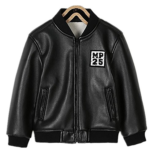 QJH Boys Brand Quality Faux Leather Biker Jacket Baseball Collar by QJH