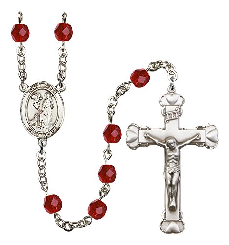 (Silver Finish St. Roch Rosary with 6mm Ruby Color Fire Polished Beads, St. Roch Center, and 1 5/8 x 1 inch Crucifix, Gift Boxed)