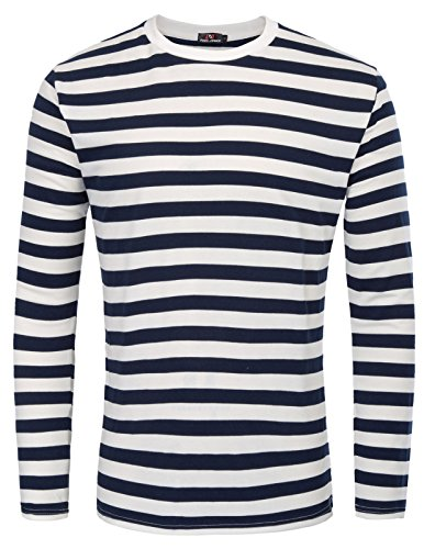 PAUL JONES Crew Neck Cotton T-Shirt Long Sleeve Casual Stripe Shirt,Navy (Narrow Stripe),Medium -