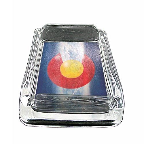 Colorado State Flag S8 Glass Square Ashtray 4