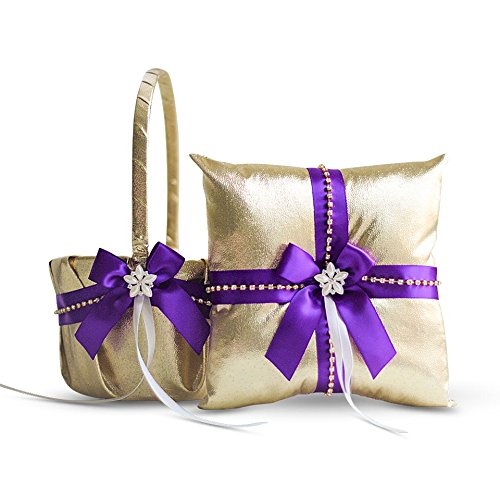 Alex Emotions Gold & Purple Jewel Wedding Ring Bearer Pillow and Flower Girl Basket Set – Satin &Ribbons – Pairs Well with Most Dresses & Themes – Splendour Every Wedding Deserves