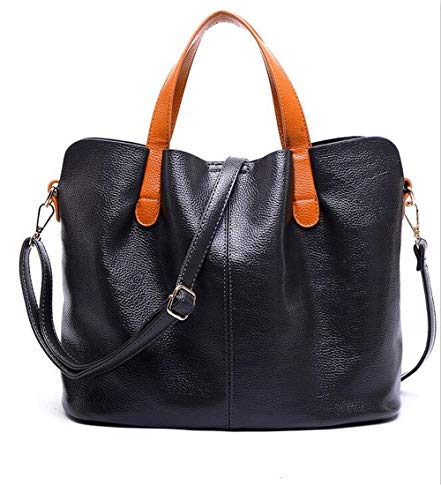 Poopy ladies lychee texture embossed comfortable soft faux leather fashion elegant Top-Handle Tote Satchel Purses Hobo Handbags-Black