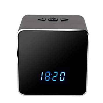 Cámara espía de altavoz, con reloj eléctrico Wifi Audio Bluetooth Seguridad electrónica Cámara de niñera escondida Reloj Detección de movimiento Visión ...